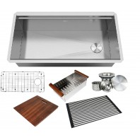 ALL-IN-ONE Workstation 36 in. 16-Gauge Undermount Single Bowl Stainless Steel Kitchen Sink w/Build-in Ledge and Accessories (Brushed Stainless Steel)