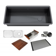 ALL-IN-ONE Workstation 42 in. 16-Gauge Undermount Single Bowl Stainless Steel Kitchen Sink w/Build-in Ledge and Accessories (Galaxy Pearl Black)