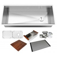 ALL-IN-ONE Workstation 42 in. 16-Gauge Undermount Single Bowl Stainless Steel Kitchen Sink w/Build-in Ledge and Accessories (Brushed Stainless Steel)