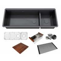 ALL-IN-ONE Workstation 48 in. 16-Gauge Undermount Double Bowl Stainless Steel Kitchen Sink w/Build-in Ledge and Accessories (Galaxy Pearl Black)