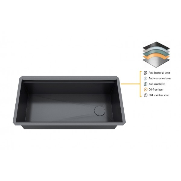 ALL-IN-ONE Workstation 32 in. 16-Gauge Undermount Single Bowl Stainless Steel Kitchen Sink w/Build-in Ledge and Accessories (Galaxy Pearl Black)