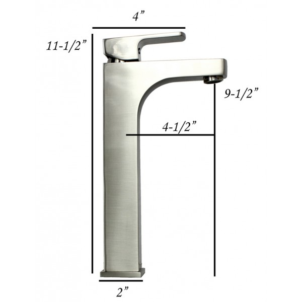 Lewis Style Square Design Brushed Nickel Solid Brass Single Hole Bathroom Faucet