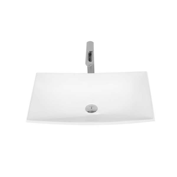 25-3/8-Inch Stone Resin Solid Surface Bathroom Vessel Sink