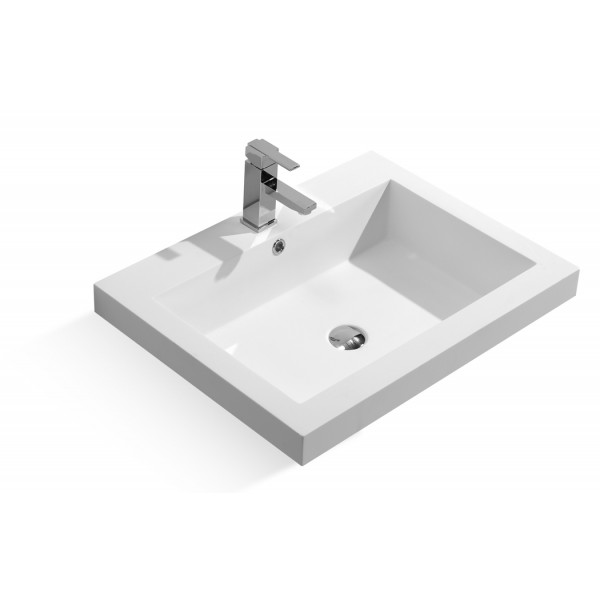 27-inch Stone Resin Solid Surface Topmount Bathroom Sink