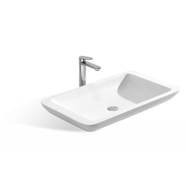31-1/2-Inch Stone Resin Solid Surface Rectangular Bathroom Vessel Sink