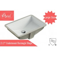 "21-1/2"" White Ceramic Porcelain Rectangular Shape Bathroom Vanity Undermount Sink"