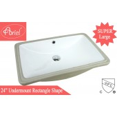 SUPER LARGE ARIEL 24 Inch Rectrangle Undermount Vitreous Ceramic Lavatory Vanity Bathroom Sink Pure White