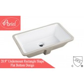 "20-7/8"" White Ceramic Porcelain Rectangular Shape Bathroom Vanity Undermount Sink"