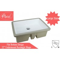 LARGE ARIEL 22 Inch Rectrangle Undermount Vitreous Ceramic Lavatory Vanity Bathroom Sink Pure White