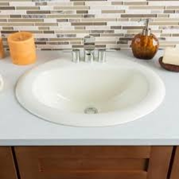 19 Inch European Style Oval Shape Ceramic Bathroom Topmount Drop In Sink