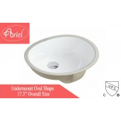 17-1/2-inch European Style Oval Shape Ceramic Bathroom Undermount Sink