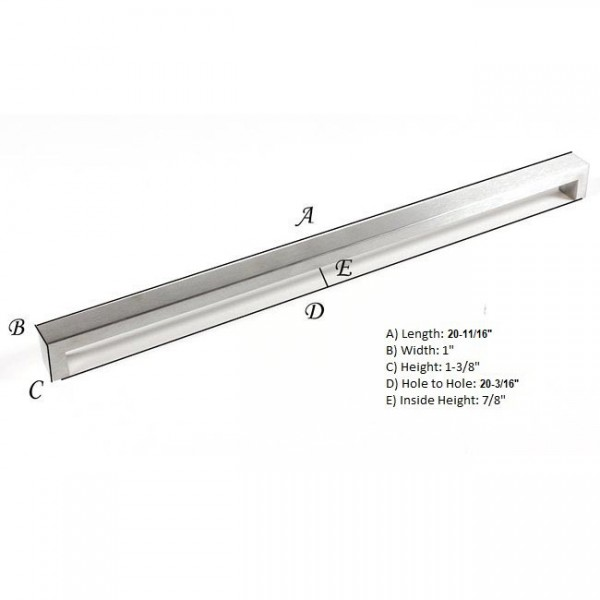 Kingsman Bold Series 20-3/16 in. Center-to-Center (512mm) Stainless Steel Drawer Pull