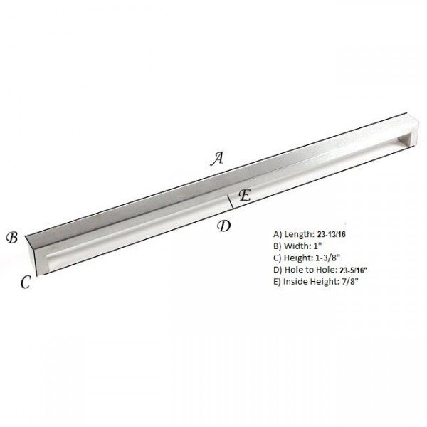 Kingsman Bold Series 23-3/8 in. Center-to-Center (594mm) Stainless Steel Drawer Pull