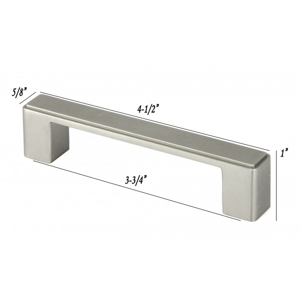 NEPOLI Series 4-1/2 In. Solid Zinc Alloy Brushed Nickel Drawer Pull Handle