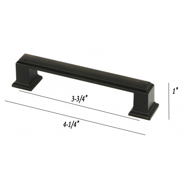 ROMA Series 4-1/4 in. Solid Zinc Alloy Oil Rubbed Bronze Drawer Pull Handle