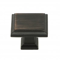 ROMA Series Solid Square 1-1/4 In. Oil Rubbed Bronze Finish Cabinet Knob