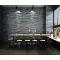 Solid Wood Dark Grey Color Rectangular shape Wall Panel 10 sq ft / Box