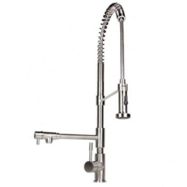 Pull Out Sprayer Stainless Steel Dual Spout Kitchen Faucet