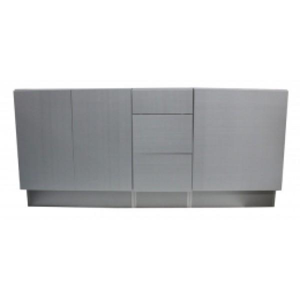 12 Inch European Style 3 Drawer Vanity Silver Grey Cotton Pattern