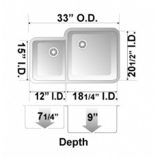 Black Granite Composite 40 60 Undermount Kitchen Sink