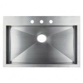 """36"""" Stainless Steel Top Mount Kitchen Sink - Single Bowl"""