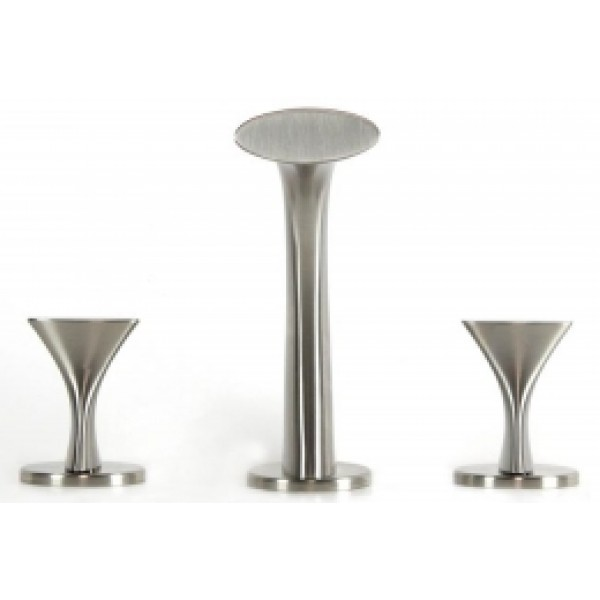 Twist Style Brushed Nickel 3 Hole Lavatory Widespread Faucet